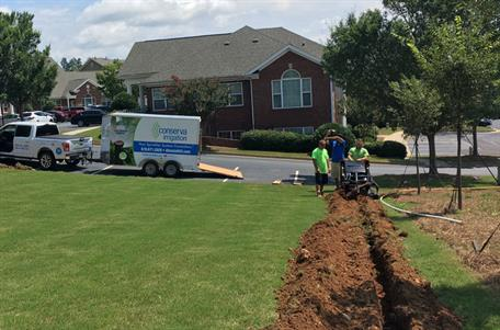 Digging Irrigation in Residential Front Lawn