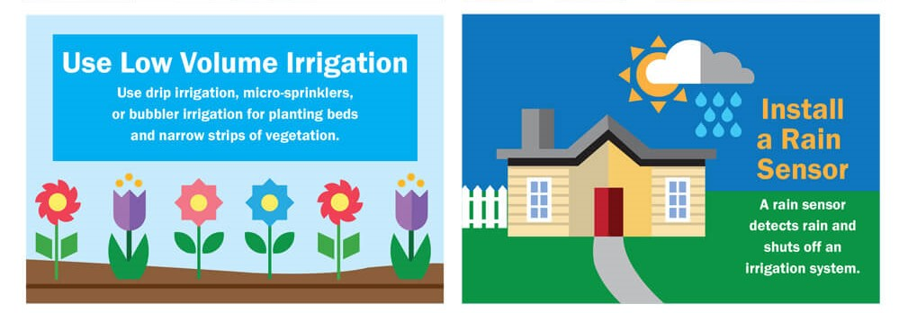 Use Low Volume Irrigation - use drip irrigation, micro-sprinklers, or bubbler irrigation for planting beds and narrow strips of vegetation