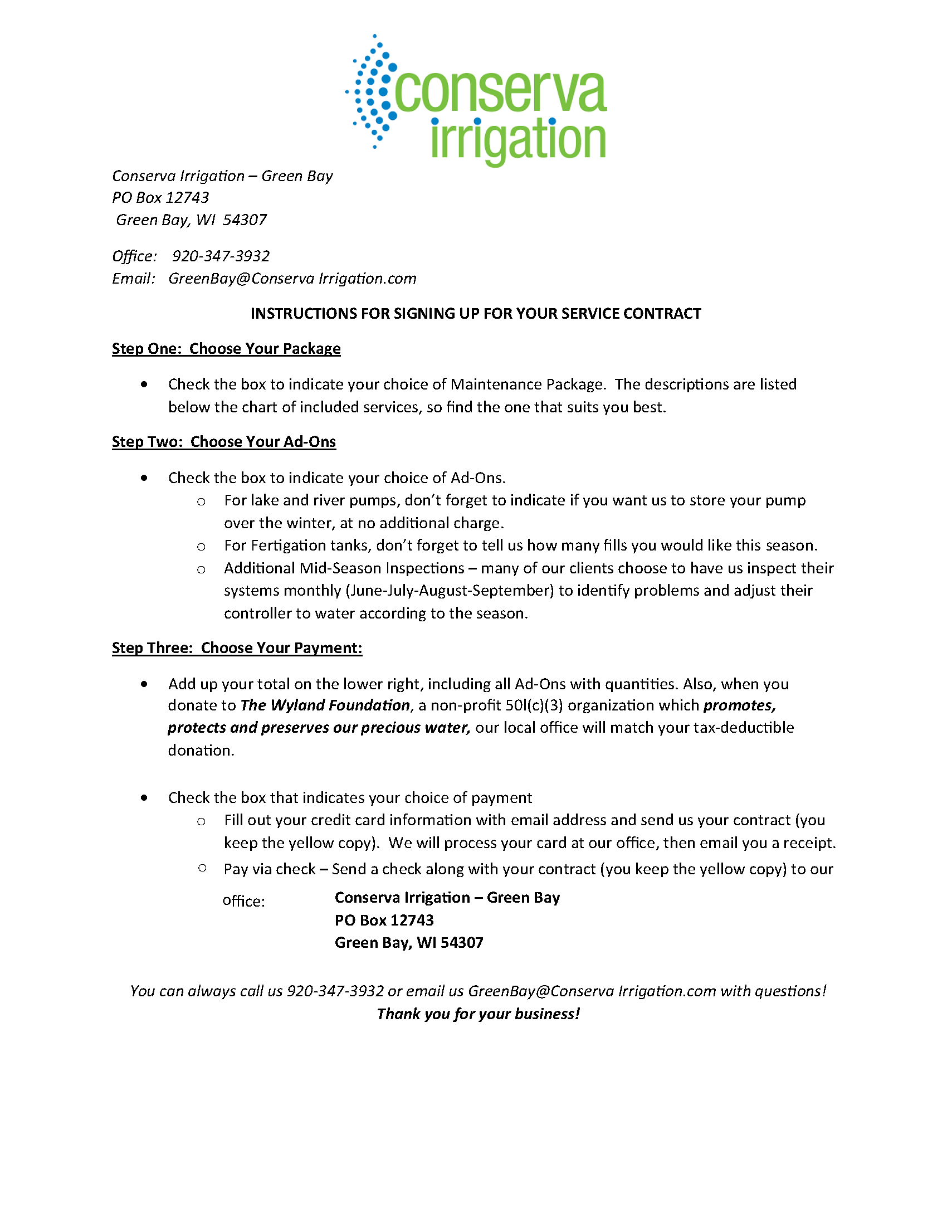 Conserva Irrigation Instructions for Signing Up for your Service Contract