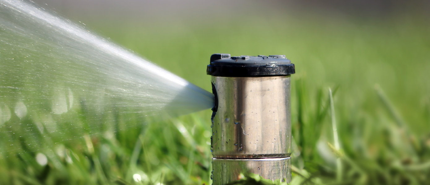 sprinkler system watering green grass