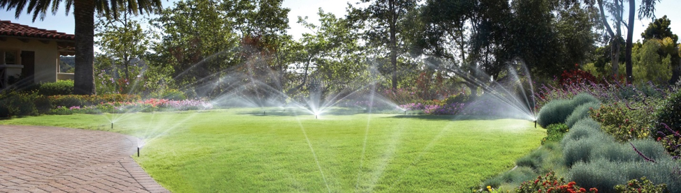 large grass area surrounded by bushes and trees being watered by multiple sprinklers